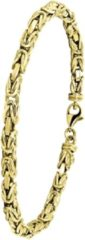 Goudkleurige Lucardi - 14 Karaat geelgouden armband koningsschakel