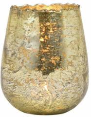 Goudkleurige Bellatio Design Glazen Design Windlicht/kaarsenhouder In De Kleur Champagne Goud Met Formaat 12 X 15 X 12 Cm. Voor Waxinelichtjes