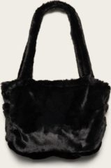 Zwarte Omaybags Omay City Bag Black Faux Fur