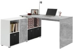 FD Furniture Computer hoekbureau Loki 136 cm breed in grijs beton met wit