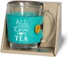 """Turquoise Snoepkado.com Valentijn - Verjaardag - Theeglas - Love - Gevuld met verpakte Italiaanse bonbons - Voorzien van een zijden lint met de tekst """"Speciaal voor jou"""" In cadeauverpakking met gekleurd lint"""