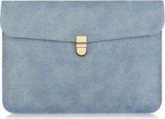 Luminous Luxury 13 inch Dunne Laptophoes met Gouden Sluiting - Blauw
