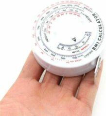 LOUZIR Omvang Meetlint Met BMI Meter - Bereken Eenvoudig Uw Body Mass Index - Alternatief Voor Huidplooimeter / Vetmeter - Hulpmiddel Bij Afvallen - Wit