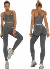 Peachy® Sportlegging en Top - Yoga - Fitness set - Scrunch Butt - Dames Legging - Sportkleding - Fashion legging - Broeken - Gym Sports - Legging Fitness Wear - Grijs - maat M - High Waist - Valt klein