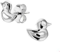 The Kids Jewelry Collection Oorknoppen Eend Zirkonia - kinderen - Zilver Gerhodineerd