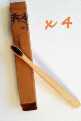 Zwarte Trendy gadget Set van 4 Bamboe tandenborstel, Zacht/Medium gevoelige tandvlees