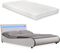 Merkloos / Sans marque Valencia LED - bed - incl. matras en lattenbodem180x200 - wit
