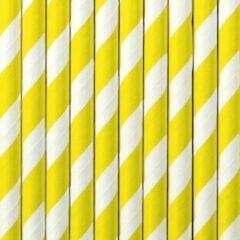 Gestreepte rietjes van papier geel/wit 10x stuks - verjaardag feestje drinkrietjes