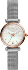 Fossil ES4614 Horloge Carlie Mini staal zilver-en rosekleurig 28 mm