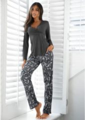 Grijze LASCANA pyjama in klassiek design met overhemdkraag en knoopsluiting