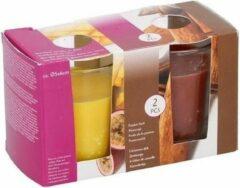 Gele Merkloos / Sans marque Duo geurkaarsen passion fruit en cinnamon stick in glas - 2 stuks - geurkaars
