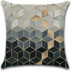 Grijze By Javy Kussenhoes Square - Goud & Blauwtinten - Kussenhoes - 45x45 cm - Sierkussen - Polyester