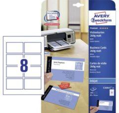 Avery-Zweckform C32015-25 Bedrukbare visitekaarten, gladde kant 85 x 54 mm Wit 200 stuk(s) Papierformaat: DIN A4