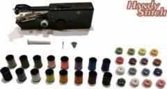 Zwarte Handy Switch Handy Stitch - PREMIUM Handnaaimachine met 32 Spoelen garen en accessoires - Compact - Draadloos - Draagbare reis naaimachine - Elektrisch of op Batterijen