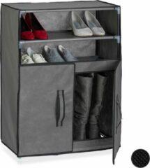 Antraciet-grijze Relaxdays schoenenkast stof - schoenen opbergen - schoenenrek - opbergsysteem schoenen antraciet