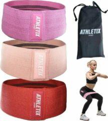 Beige Athletix® - Weerstandsbanden Set van 3 - Met Gratis Draagtas - Booty Bands - 3 Resistance Bands - Roze