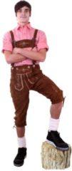 KIMU party outfits Lange lederhosen bruin echt leer - maat 48 M - Oktoberfest suede Tiroler cognacbruin driekwarts leren heren lederen broek Tirol lederhose bierfeest festival