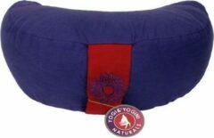 Paarse Yogi & Yogini Meditatiekussen violet 7chakra halve maan - 33x13 - Boekweit - Katoen - 1300 - Violet