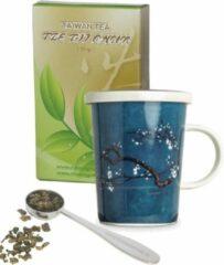 Tze tji chun taiwan tea Valentijn cadeau, relatie pakket, cadeau voor vrouw, theebeker met zeef en deksel blauwe magnolia 150 gram gezonde losse groene thee, tea, chai, van de hele blaadjes plus stalen maatlepel.