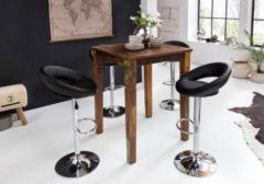 Wohnling Stehtisch Kalkutta 80 x 80 x 110 cm Massivholz Bartisch für 4 Personen Rustikaler Tisch für Bar Partytisch Shabby Chic Hochtisch Massiv H