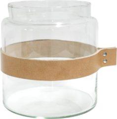 Bruine TAK Design Vaas Wrap Me - Incl. Lederen Band - Glas - Ø19 x 20 cm - Bruin