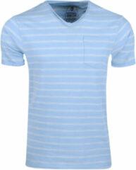 Blauwe New Republic Earthbound heren t-shirt gestreept borstzak
