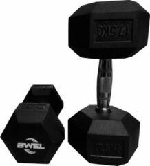 Zwarte BWEL Hexa dumbbells 17,5kg