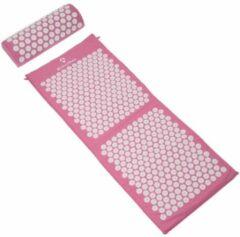 #DoYourFitness - XXL Acupressuur Set - »Yumanyi« - mat + kussen - Maat : spijkermat (125x48cm) en kussen (48x9cm) - roze