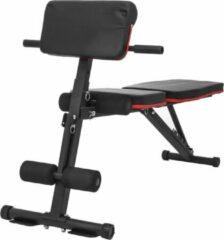Evolution FIT® Halterbank/Fitnessbank - 6 in 1 sportbank - fitness - sporten - GYM - verstelbaar/inklapbaar - vlak/negatief/schuin - met beenhouder - inclusief weerstandsbanden - resistance bands - nieuw model - zwart/rood