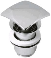 Roestvrijstalen Plieger Design afvoerplug clickwaste met overloop 5/4 RVS look vierkant