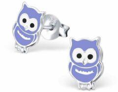 Blauwe Aramat Jewels 925 sterling zilveren kinder oorbellen uil paars