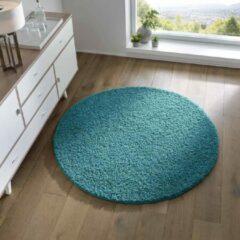 Tapeso Rond vloerkleed hoogpolig effen Spectrum - turquoise 200 cm rond