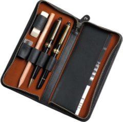 Pennenetui voor 3 stuks zwart leer met ritssluiting 17,5 x 8 x 2,5 cm.