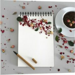 Rode KuijsFotoprint Plexiglas - Koffiebonen met Kruiden - 80x80cm Foto op Plexiglas (Met Ophangsysteem)