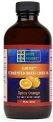 Groene Green pasture's Groen pasture's groen PASTURE BLUE ICE ™ Gefermenteerde rog lever olie, Sinaasappel smaak – 237 ml