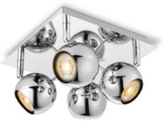 Zilveren Home sweet home LED opbouwspot Bollo 4 lichts ↔ 22 cm - chroom