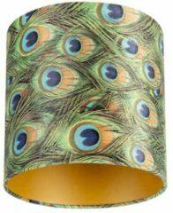 Turquoise QAZQA Velours lampenkap pauw dessin 25/25/25 met gouden binnenkant