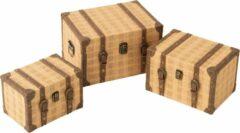 J-Line Set Van 3 Koffers Rechthoek Hout Beige/Bruin