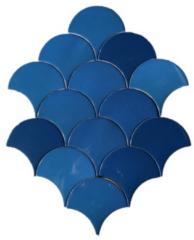 Terre d'Azur Hawaiian visschub tegels / mermaid tegels blauw 12,5x6.3cm