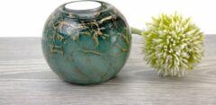 Waxinelicht Mini Urn Groen met bladgoud Loranto Glas