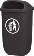 Binqer City buitenafvalbak 50 liter grijs - voor paal en wand