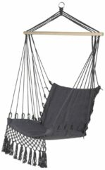Grijze 909 OUTDOOR Hangstoel geweven, hangmat voor binnen en buiten, hangstoel van hout en katoen met touwen, 115 x 60 x 90 cm