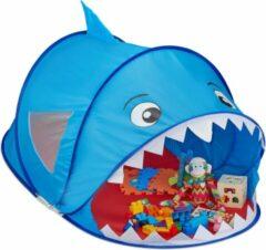 Relaxdays Speeltent haai - pop-up kindertent - tent kinderen - speelgoedtent - blauw