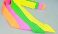 Leba Partijlinten - Partijlint - Partijlintjes set van 10 stuks | Neon Geel | 4 nieuwe Neon Kleuren