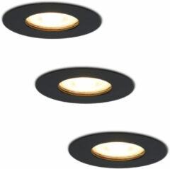 HOFTRONIC™ LED inbouwspots 3 spots - Zwart - Rond - IP65 - GU10 - Dimbaar - Spot Bari - 5 Watt 2700K Warm Wit