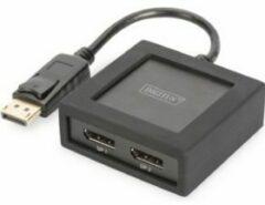 Digitus DS-45404 2 poorten DisplayPort-splitter Met metalen behuizing, Ultra HD-geschikt, Met aluminium behuizing 4096 x 2160 Pixel Zwart