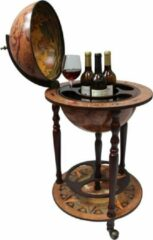 Brulo Wereldbol Globebar Carthago Wijnrek - ⌀ 36 cm - Bruin - Hout - 3 flessen