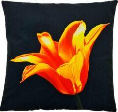 Oranje Decolenti   Orange Flower Sierkussenhoes   Zwart   Wit   Wasbaar   Decoratie   45cm x 45cm