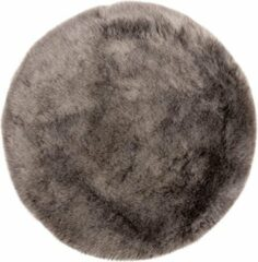 Decor24-OB Extra zacht effen vloerkleed Samba - Rond - Taupe - O 80 cm
