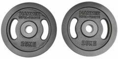 Hammer Fitness Hammer - Olympische Halterschijven - Gietijzer - per Paar - 2x 25 kg - Zwart - 50mm
